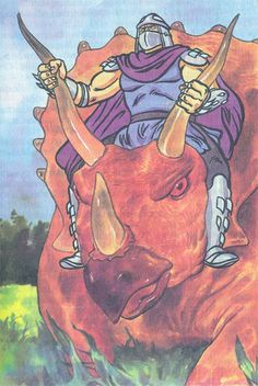 Yes that is Shredder and he IS riding a triceratops. TMNT Comic.