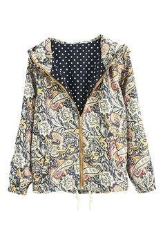 ROMWE | Floral Print Drawstring Hoodied Coat, The Latest Street Fashion