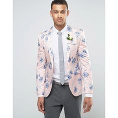 ASOS WEDDING Skinny Blazer in Blush Floral Print ($120) ❤ liked on Polyvore featuring men's fashion, men's clothing, men's sportcoats, pink, pink mens clothing, tall mens clothing, mens beach wedding apparel, asos mens clothing and men's sportcoats and blazers