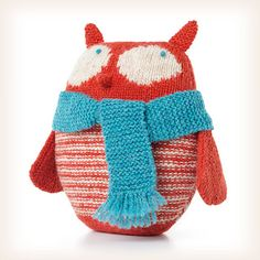 """""""Little Otto Owl"""" stuffed owl knitting pattern by Lucinda Guy.  A cute owl with a scarf!"""