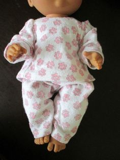 """Custom Made Soft Pink Puppy Paws Flannel PJ's Baby Alive Clothes 13"""" Doll 2pc 