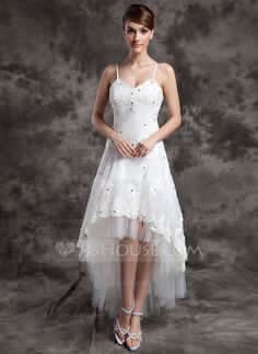 A-Line/Princess V-neck Asymmetrical Organza Tulle Wedding Dress With Lace Beading (002024067) - JJsHouse