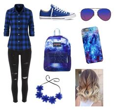 """""""Blue"""" by diamond-forevers on Polyvore featuring River Island, Converse, JanSport, Fendi and Matthew Williamson"""