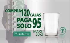 Por la compra de 120 cajas del vaso Sidra Maxi, de 50 cl, le regalamos 25, por lo que sólo paga 95.