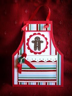 Christmas apron card to hold recipe...