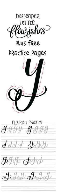 Flourishes in hand lettering: Free practice pages - typography and handlettering Source by Doodle Lettering, Creative Lettering, Lettering Ideas, Lettering Styles, Brush Lettering Worksheet, Hand Lettering Fonts, Calligraphy Letters, Typography Letters, Chalkboard Lettering Alphabet