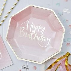 Ginger Ray Pink Happy Birthday Lunch Plates are pink with metallic gold lettering and trim. Birthday guests will love the fun octagonal shape of these paper plates. Happy Birthday Rose, Birthday Roses, Birthday Lunch, Birthday Plate, Happy Birthday Parties, Little Girl Birthday, Mint, Party Kit, Party Ideas