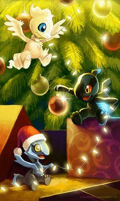 Christmas in Unova by arkeis-pokemon.deviantart.com on @deviantART.  Reshiram, Zekrom, and Kyurem