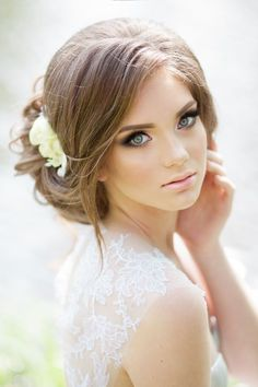 loose low wedding updo idea picture