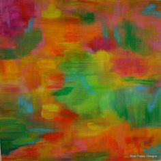 50% OFF SALE Original Abstract Acrylic Painting, Orange Crush, Vibrant Colors, Pink, Orange and Green, via Etsy