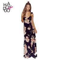 Haoduoyi 2016 Stylish Fiery Deep-V Sexy Floral Printed Backless Split Maxi Dress for Wholesale