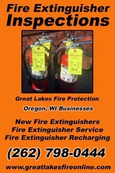 Fire Extinguisher Inspections Oregon, WI (262) 798-0444 Local Wisconsin Businesses Discover the Complete Fire Protection Source.  We're Great Lakes Fire Protection.. Call us today!
