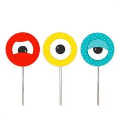 Enfeite Palito Pick para Cupcake Monstrinhos 12 unidades Cromus