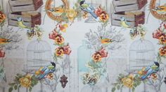 Bird Cage Material Orange Beige Vintage Style Printed Textile Sold by Meter Designers Fabric
