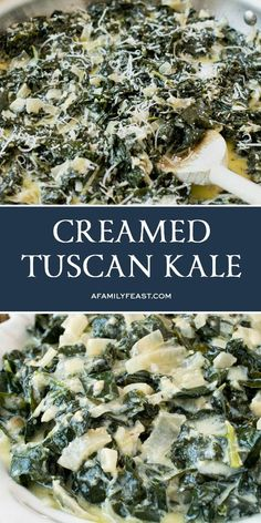 Creamed Tuscan Kale is delicious comfort food that's loaded with healthy Tuscan Kale. Cooked Kale Recipes, Veggie Recipes, Keto Recipes, Veggie Food, Kale Food, Kale Kale, Kale Salad Recipes, Recipes Dinner, Gratin
