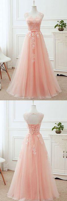 Simple Prom Dress,Pink Sleeveless Prom Dress,Prom Dress,Applique Prom Dress,Round Neck Lace Up Bridesmaid Dresses