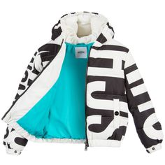 Moschino Kid-Teen - Black & White Down Padded Logo Jacket