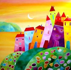 ♥ Art And Illustration, Art Pictures, Art Images, Art Moderne, Art Abstrait, Naive Art, Whimsical Art, Painting For Kids, Art Lessons