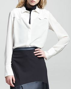 Silk-Crepe Western Blouse by Brunello Cucinelli at Neiman Marcus.