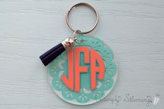 Monogram Keychain, Monogram Initials, Disc Necklace, Vinyl Crafts, Custom Items, High Gloss, Party Favors, Sorority Wedding, Personalized Items