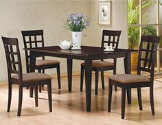 5 PC Espresso Brown 4 Person Table and Chairs Brown Dining Dinette  Espresso Brown and Beige Chair Waffle Back ** Click on the image for additional details.Note:It is affiliate link to Amazon. #summer