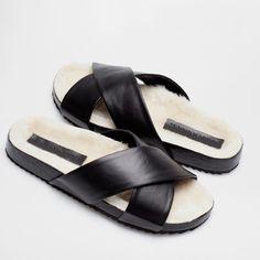 HOME SANDALS WITH FUR CROSSOVER VAMP - Footwear - Woman - Homewear & shoes - SALE   Zara Home Spain