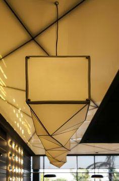 Sushi Restaurant with Origami Lights - InteriorZine Sushi Restaurants, Japan Design, Ballon Lampe, Origami Lights, Bar Restaurant Design, Design Japonais, Box Kite, Elements Of Design, Cafe Design