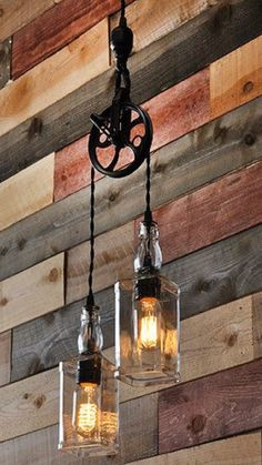 The Warehouser – Rustic Farmhouse Pendant Chandelier Pulley Lamp – Industrial Lighting – Factory Lighting - Flaschenzug Ideen Factory Lighting, Deco Luminaire, Pendant Chandelier, Wine Bottle Chandelier, Pendant Lights, Chandelier Ideas, Diy Pendent Light, Chandelier Lighting, Wine Bottle Lamps