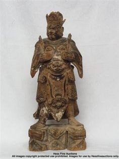 Important Antique Carved Gilt Wooden Chinese Tibet Nepal Statue Figure Sculpture