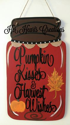 Awesome mason jar tips are offered on our site. Take a look and you wont be sorry you did. Fall Door Hangers, Burlap Door Hangers, Mason Jar Crafts, Mason Jar Diy, Diy Hanging Shelves, Wood Cutouts, Wooden Crafts, Fall Crafts, Diy Crafts