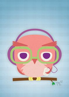 Hipster Owl with Headphones and iPod 5x7 Digital by HeyItsPete, $7.00  Hermosos diseños y coloridos