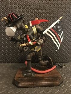 I quite like this outstanding photo Firefighter Home Decor, Firefighter Family, Volunteer Firefighter, Fire Crafts, Alcohol Dispenser, Steampunk Lamp, Rustic Chandelier, Iron Pipe, Pipe Lamp