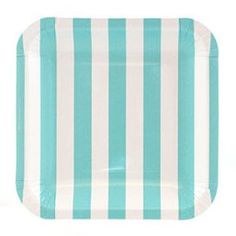 "Paper Plates - 7.25"" Square Light Blue Stripes for $7.00 from The TomKat Studio Party Shop"