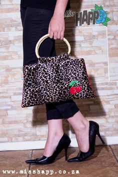 Furry Leopard Red Cherry Bamboo Handle Hand Bag by MissHapp, $46.00