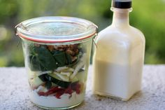 This recipe was created for the Salad in a fermenting jar recipe. This creamy Apple Kefir Dressing makes any salad become a probiotic salad.