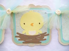 Oh baby spring chick baby shower banner, gender neutral - MADE TO ORDER. $28.00, via Etsy.