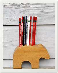 """elephant pencil holder""  this was the original descriptor, but seriously this is not an elephant, maybe a bear?"