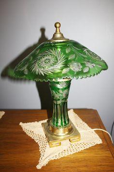 Dresden By Peck Cut Glass Lamp Emerald Green Cut by patwatty, $200.00