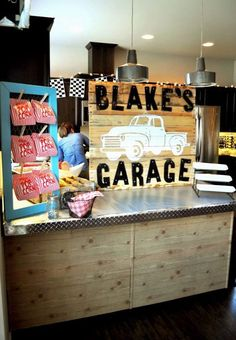 CUTE Vintage Garage themed birthday party with SUCH CUTE Ideas via Kara's Party Ideas Kara Allen KarasPartyIdeas.com #vintagecarparty #garageparty