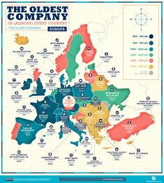 A World Map of the Oldest Company in Every Country (Still in Business) «TwistedSifter Albania, Construction Company Names, Chocolate City, Country Names, City Maps, Historical Maps, 14th Century, Countries Of The World, South America