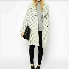 PRICE NEGOTABLE ASOS  coat cocoon fit in texture ASOS - Heavy -Weight,texture,super fluffy fabric ,silky feel lining. Notch lapels . Press stud plackets. OverSized fit- falls generously around the body. Dry cleaned. 68%Wool,28%Polyester 4%acrylic. ASOS Jackets & Coats Pea Coats