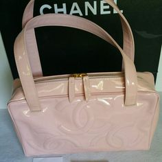 Chanel Baby Pink Patent Vintage Tote Hand Bag