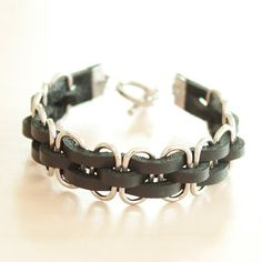 Leather Bracelet in Black with Metal Ring by TheLeatherTH on Etsy, $9.50