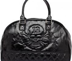 Black Leatherette Lucky 13 Thirteen Skull Large Quilted Travel Handbag Purse