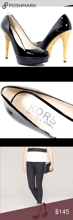 Michael Kors Patent Leather Pumps Michael Kors black patent leather with cork high heel. 5 inch heel with 1 inch platform. These have been worn before, but you can only tell on the bottom of the shoe and insole. Great pair of shoes that go well with anything! KORS Michael Kors Shoes Heels