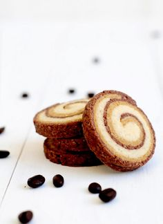 chocolate coffee vanilla spiral cookies