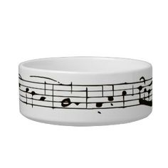Black and white musical notes cat bowl
