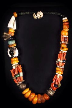 Africa | Berber necklace | Coral, amber, shell, amazonite, silver | POR