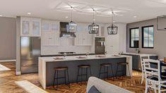 2 Story Modern Farmhouse Style Plan | Mission Bay Narrow Lot House Plans, Best House Plans, House Floor Plans, Bookshelves Built In, Built In Desk, Floor Plan Drawing, Coastal House Plans, Kitchen Views, Modern Farmhouse Plans