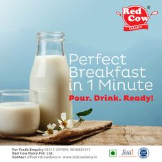 Now your perfect is ready in 1 minute. Just pour & drink and let your skin glow from day to night. A glass of every day will help you to build healthy bones & maintain your bone mass. Visit us online: redcowdairy. Milk Nutrition, Protein Nutrition, Protein Foods, Fresh Milk, No Dairy Recipes, Beverages, Drinks, Perfect Breakfast, Healthy Skin